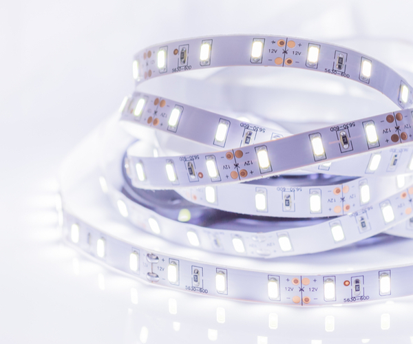 Close-up of LED strip light white light