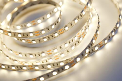 Close-up of LED strip light warm light