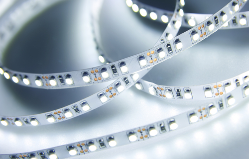 Close-up of LED strip light white light