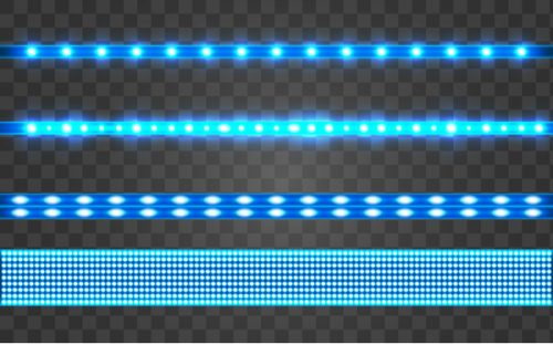 neon LED glowing light stripes with glare and light flashes