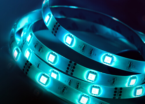 Led silicon shining blue strip in coil