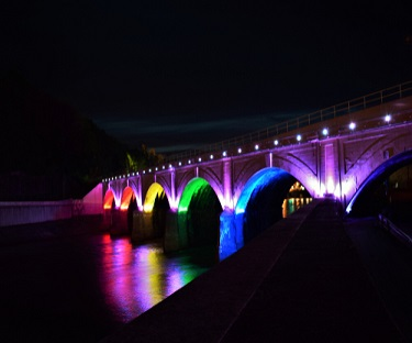 Lighted Stone Bridge in Johnstown