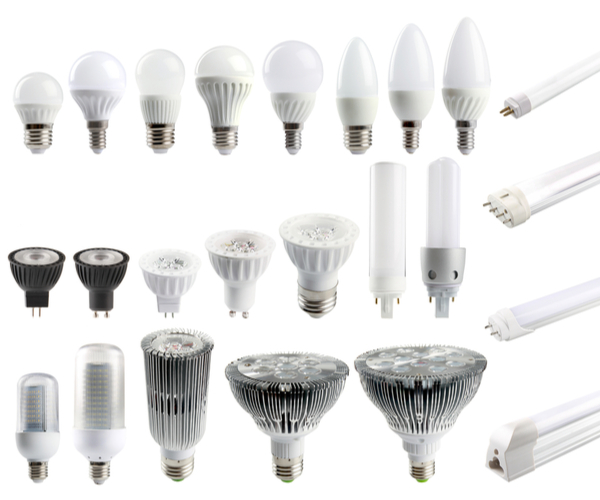 different types of LED light bulbs against white background