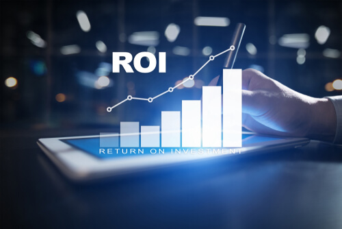 ROI, Return on investment business and technology concept on virtual screen background